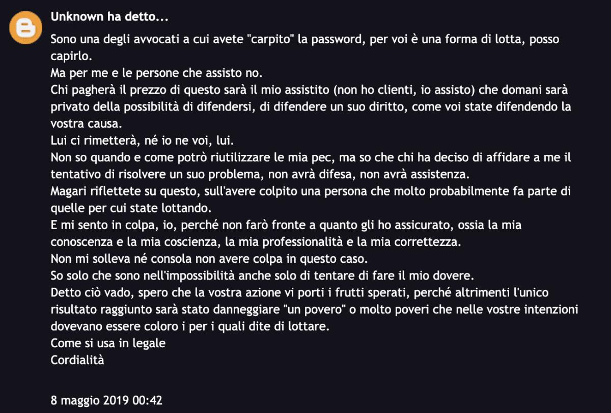 Commento sul sito di Anonymus Italia da parte di un avvocato.